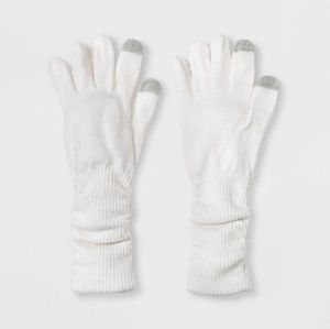 NWT Slouchy Gloves, White/Gray/Beige